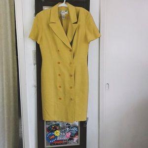 **VINTAGE 80s** pale yellow coat dress